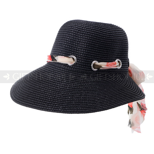 Ladies Summer Visor Hat with Flower Ribbon- Black