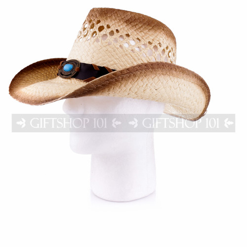Light Brown Cowboy Straw Hat with Leather Strap & Blue Stone (Side)