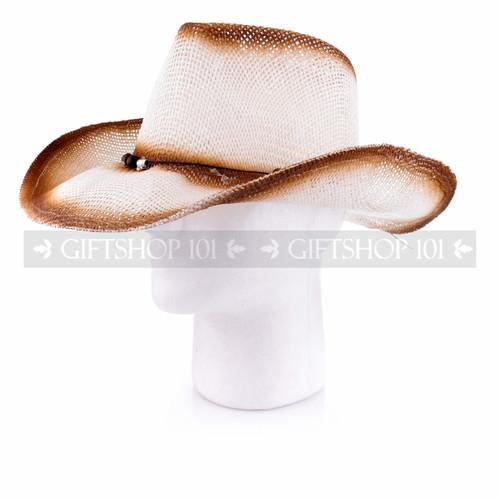 Brown Straw Summer Cowboy Sun Hat (Side)