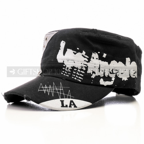 Black and White Los Angeles Flat Summer Sun Cap (Front)