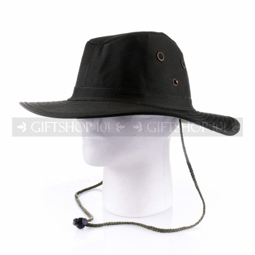 Dark Green Summer Sun Hat with Side Buttons (Side)