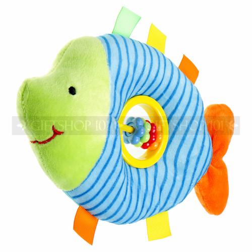 "9"" Blue Fish Baby Rattle Plush"