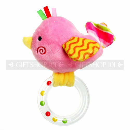 "7"" Plush Pink Bird Baby Rattle Ring"