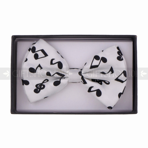 Bow Tie - Black Music Sign/White