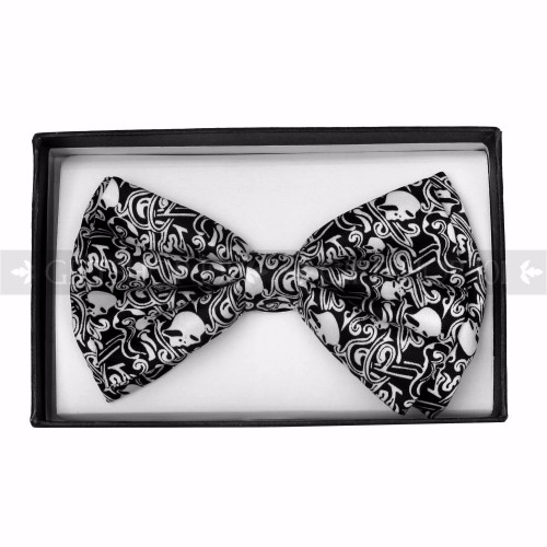 Bow Tie - Black w/ White Skull