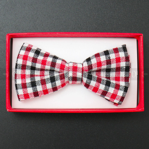 Kid's Bow Tie - Red, Black and White Plaid