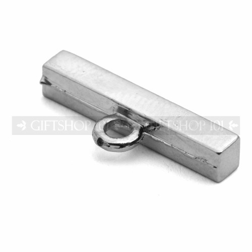 "0.75"" Silver Plasted Metal Bar Clasps Secure Bracelets Lock"