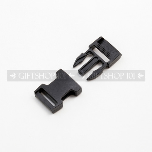 Side Release Buckles w/ Single Adjust - Plastic - 0.5 inch - Black