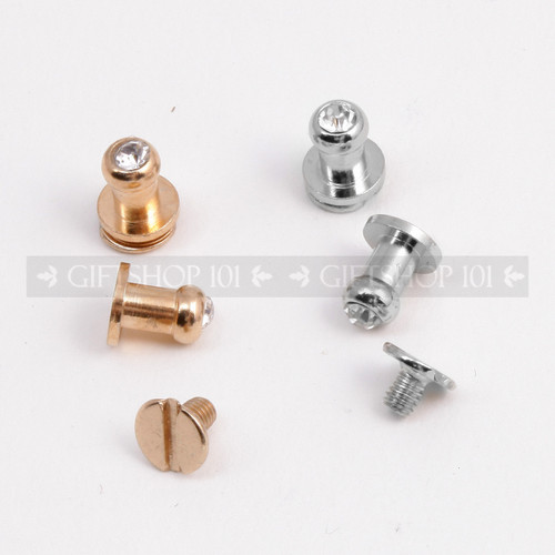 Screw Button Stud w/ Rhinestone - Metal - 7 mm