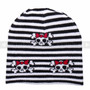 Winter Beanie - Black and White stripes & Skull with Bows