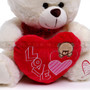 "12"" Appreciation Teddy Bear with Red Heart- White (Close-up)"