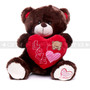 "12"" Appreciation Teddy Bear with Red Heart- Dark Brown (Front)"