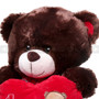 "12"" Appreciation Teddy Bear with Red Heart- Dark Brown (Detail)"
