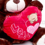 "12"" Appreciation Teddy Bear with Red Heart- Dark Brown (Close-up)"