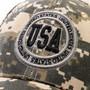 Green Camouflage Print USA Baseball Cap (Detail)