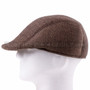 Flat Brown Plastic Golfer Cap Sun Hat (Left)