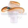 Light Brown Cowboy Straw Hat With Wooden Beads & Blue Stone (Side)