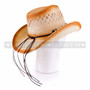 Light Brown Cowboy Straw Hat With Wooden Beads & Blue Stone (Back)