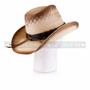 Light Brown Cowboy Straw Hat with Leather Strap & Blue Stone (Back)