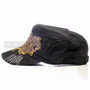 Swords and Cross Flat Black Summer Hat (Left)