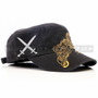 Swords and Cross Flat Black Summer Hat (Right)