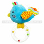"7"" Plush Blue Bird Baby Rattle Ring"