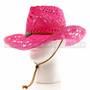 Pink Stitched Mesh Cowboy Summer Hat (Front)