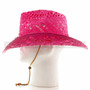 Pink Stitched Mesh Cowboy Summer Hat (Side)