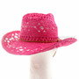 Pink Stitched Mesh Cowboy Summer Hat (Back)