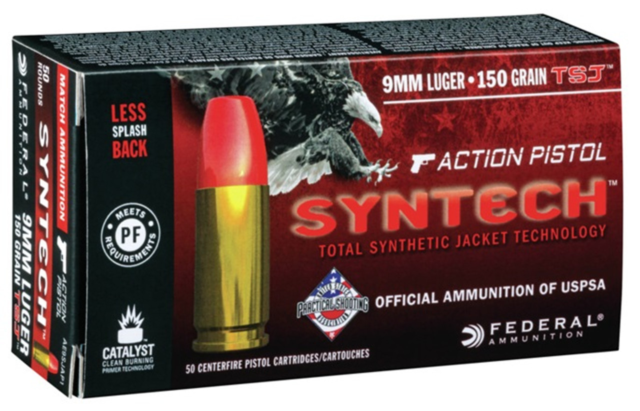 Federal 9mm American Eagle Syntech Ammunition AE9SJAP1 150 Grain Flat Nose  Synthetic Jacket 50 rounds