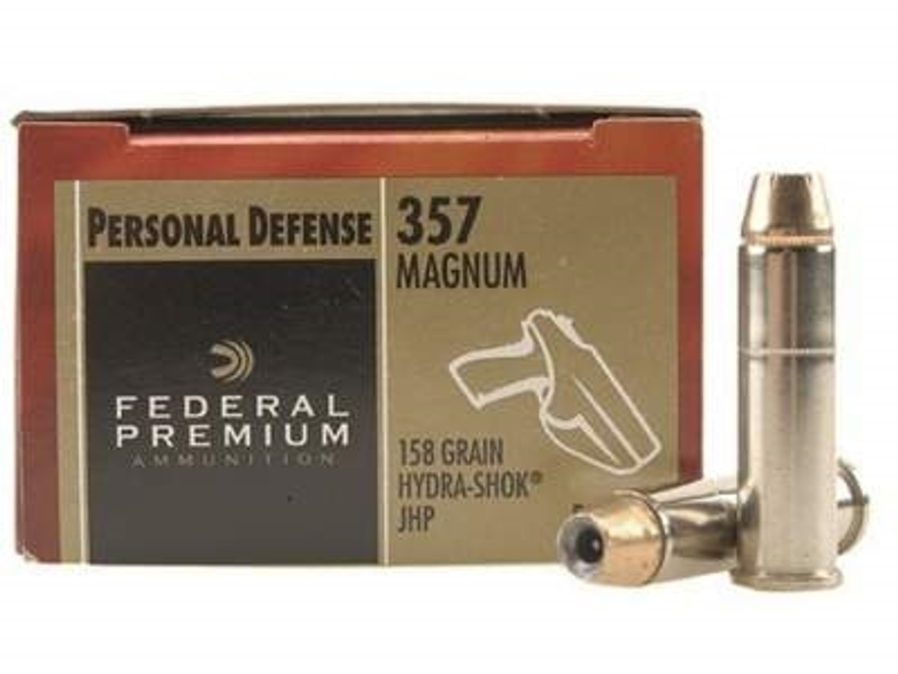 Federal 357 Magnum Ammunition Hydra-Shok P357HS1 158 Grain Jacketed Hollow  Point 20 rounds