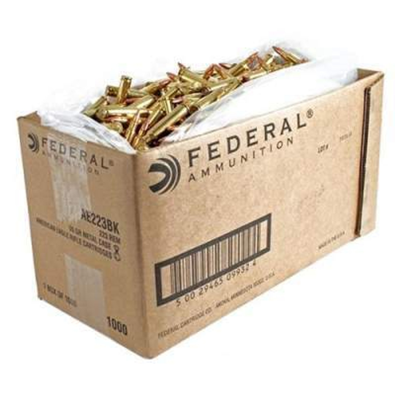 Federal 223 Rem Ammunition American Eagle AE223BK 55 Grain Full Metal  Jacket Bulk Case of 1,000 Rounds