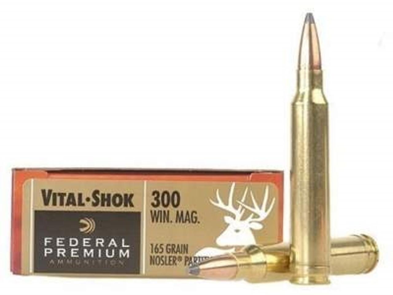 Federal 300 Win Mag Ammunition Vital-Shok P300WK 165 Grain Nosler Partition  20 rounds