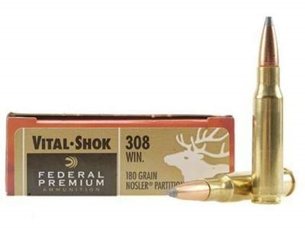Federal 308 Win Ammunition Vital-Shok P308E 180 Grain Nosler Partition 20  rounds