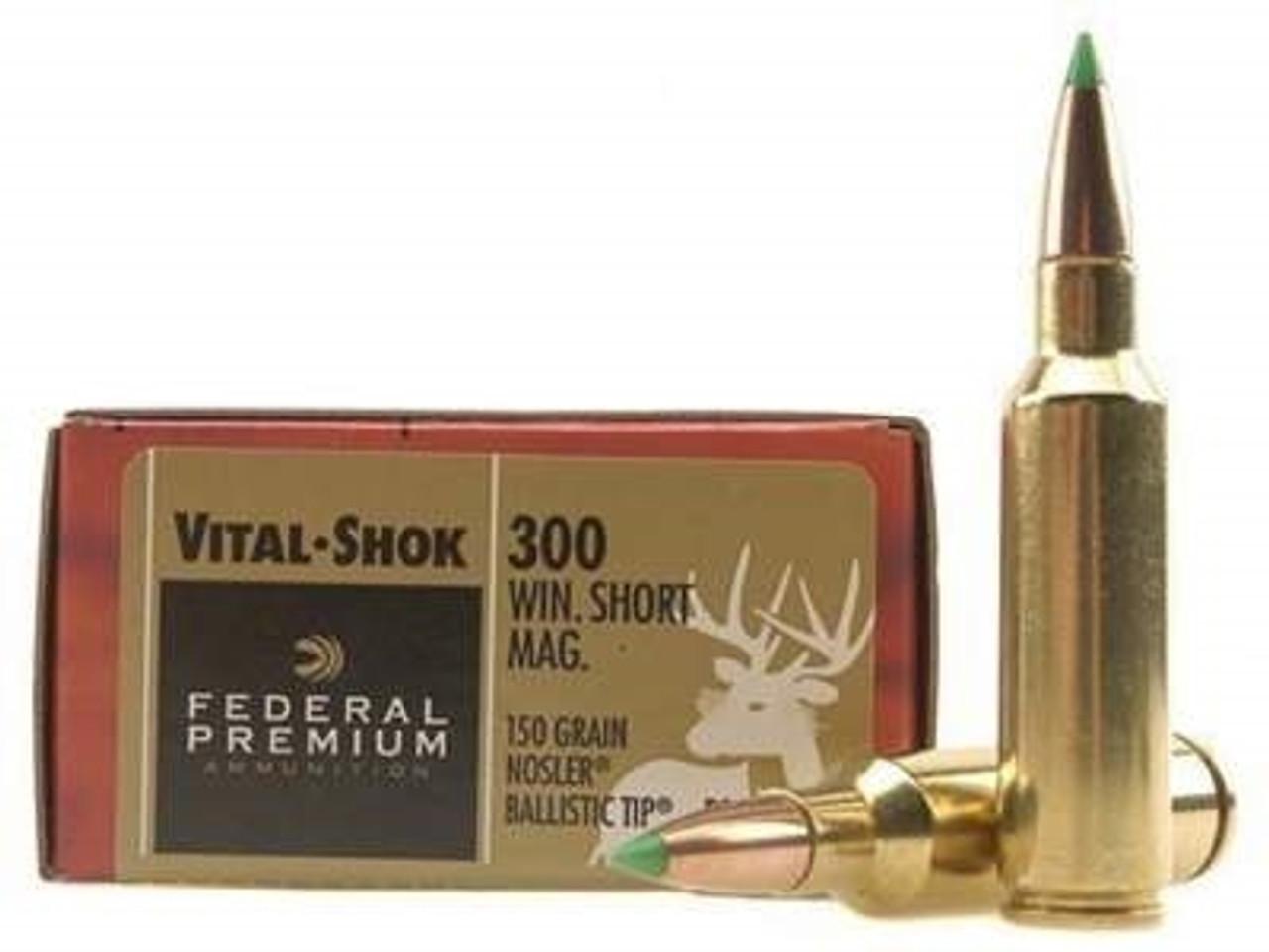 Federal 300 WSM Ammunition Vital-Shok P300WSMD 150 Grain Nosler Ballistic  Tip 20 rounds