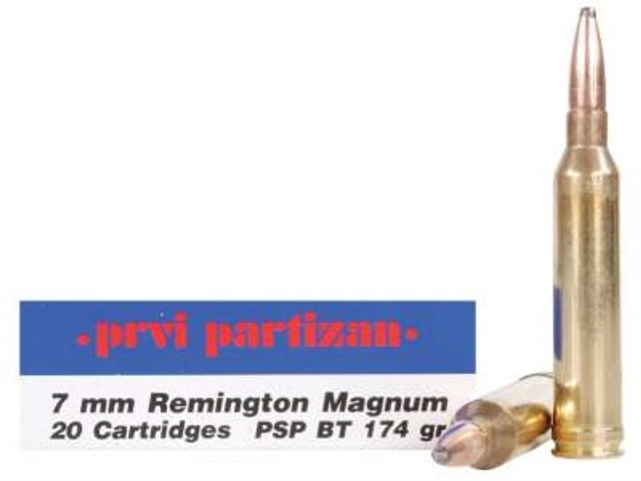Prvi PPU 7mm Rem Mag Ammunition PP772 174 Grain Pointed Soft Point 20 Rounds