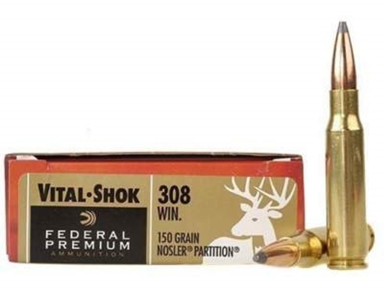 Federal 308 Win Ammunition Vital-Shok P308S 150 Grain Nosler Partition 20  rounds