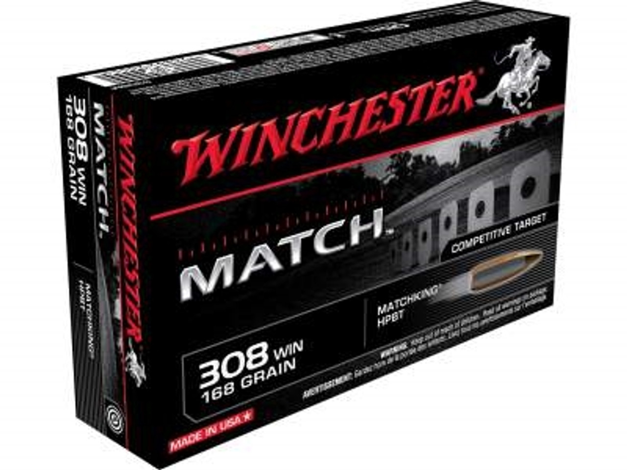 Winchester 308 Win Ammunition Supreme Match S308M 168 Grain Hollow Point  Boat Tail 20 rounds