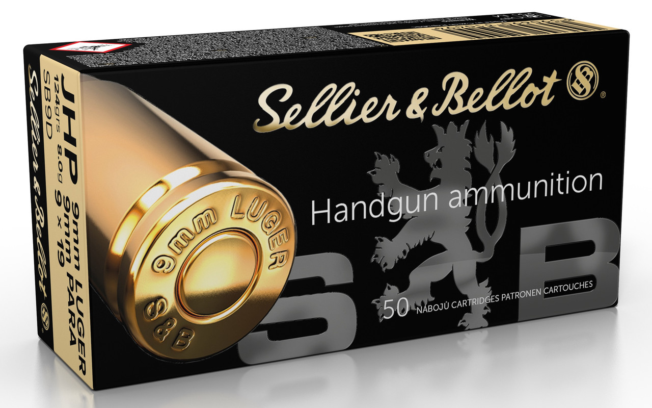 Sellier & Bellot 9mm Ammunition 124 Grain Jacketed Hollow Point 50 Rounds