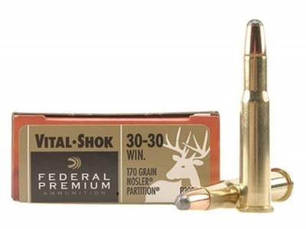 Federal 30-30 Win Ammunition Vital-Shok P3030D 170 Grain Nosler Partition  20 rounds
