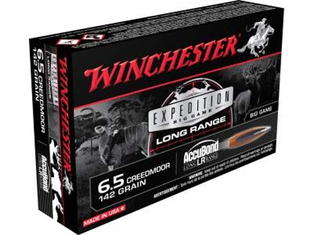 Winchester 6 5 Creedmoor Ammunition Expedition Long Range S65LR 142 Grain  Nosler Accubond LR 20 rounds