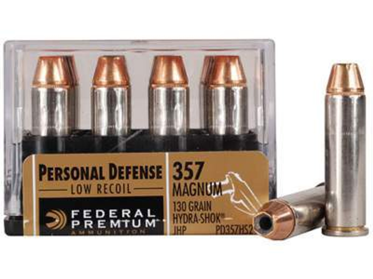 Federal 357 Magnum Hydra-Shok PD357HS2H Low Recoil 130 gr JHP 20 rounds