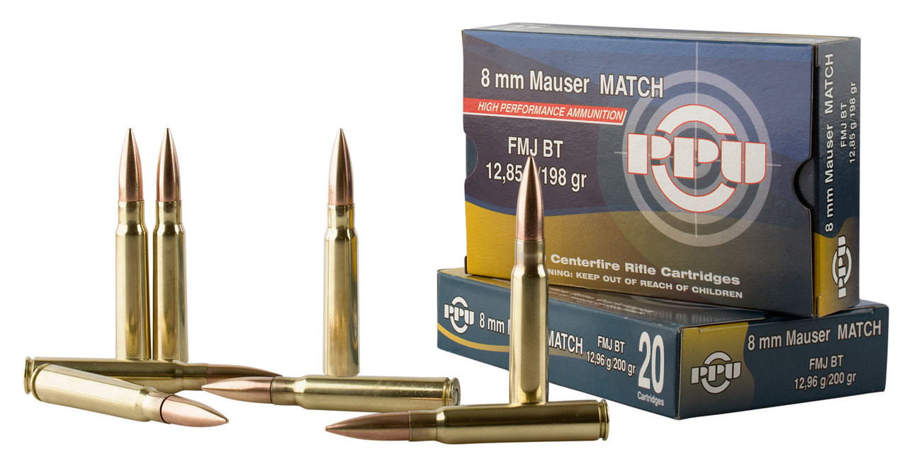 Prvi PPU PPU 8mm Mauser Ammunition PPM8 200 Grain Full Metal Jacket 20  Rounds