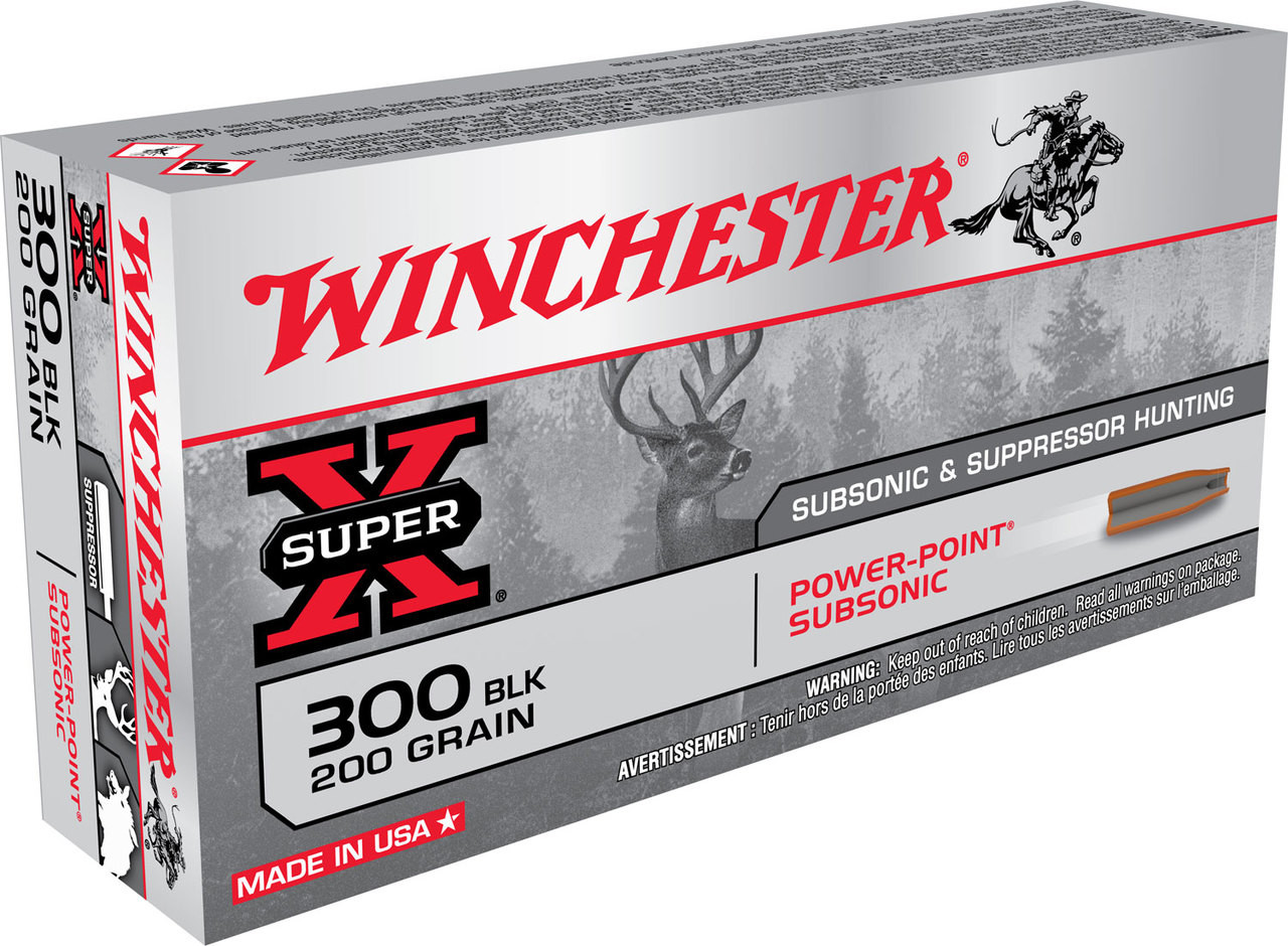 Winchester 300 AAC Blackout Ammunition Super-X X300BLKX 200 Grain Hollow  Point 20 Rounds
