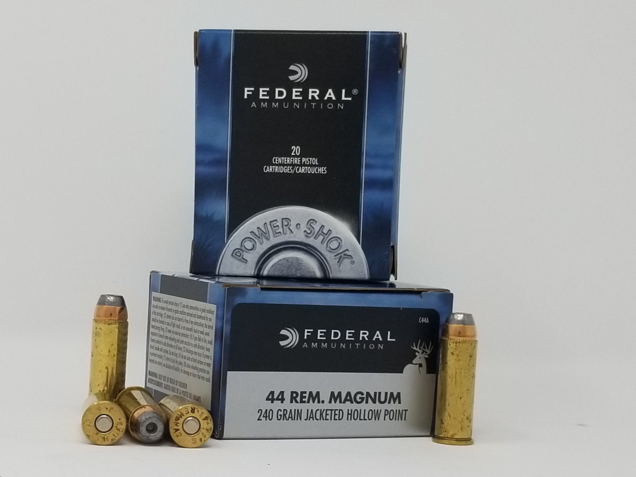 Federal 44 Rem Mag Ammunition Power-Shok C44A 240 Grain Jacketed Hollow  Point 20 Rounds
