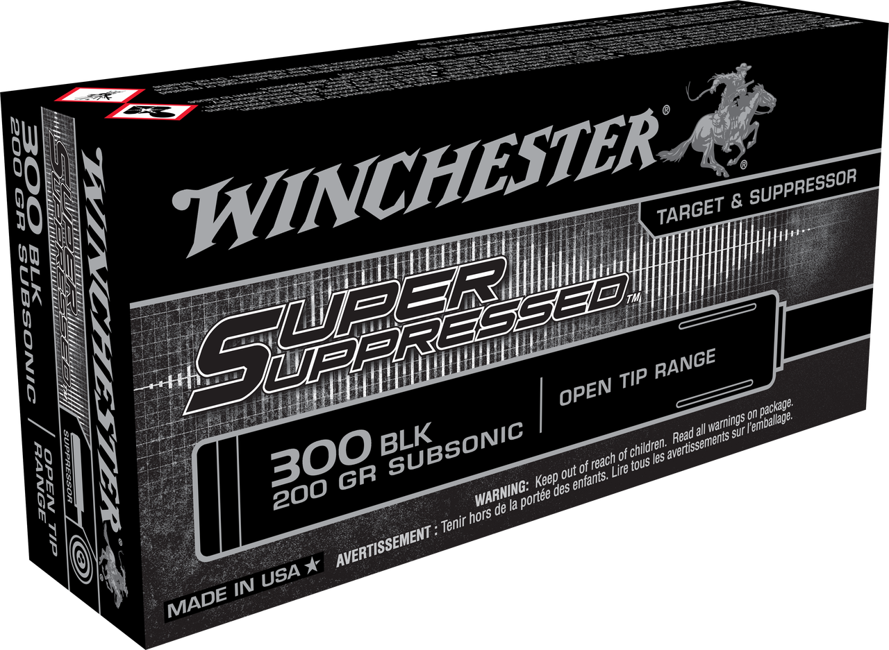 Winchester 300 AAC Blackout Ammunition Super Suppressed SUP300BLK 200 Grain  Full Metal Jacket Open Tip Subsonic 20 Rounds