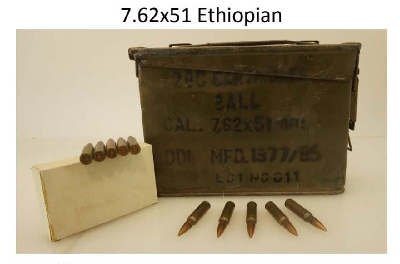 Military Surplus 7 62x51 Ethiopian Ammunition AM2962 145 Grain Full Metal  Jacket Lead Core Ammo Can of 280 Rounds