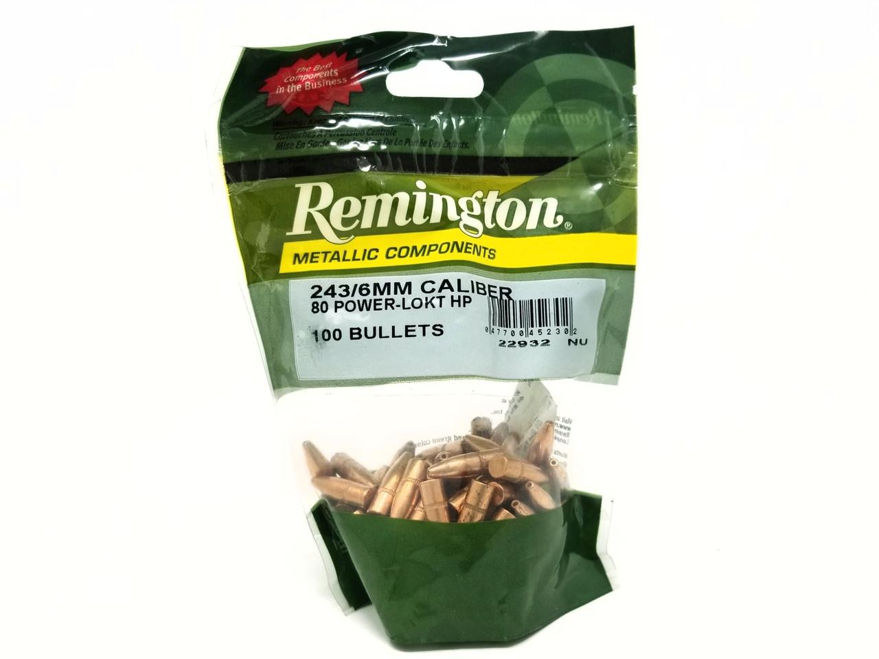 Remington 6mm ( 243 Dia) Reloading Bullets RB243P1 80 Grain Power-Lokt  Hollow Point 100 Pieces