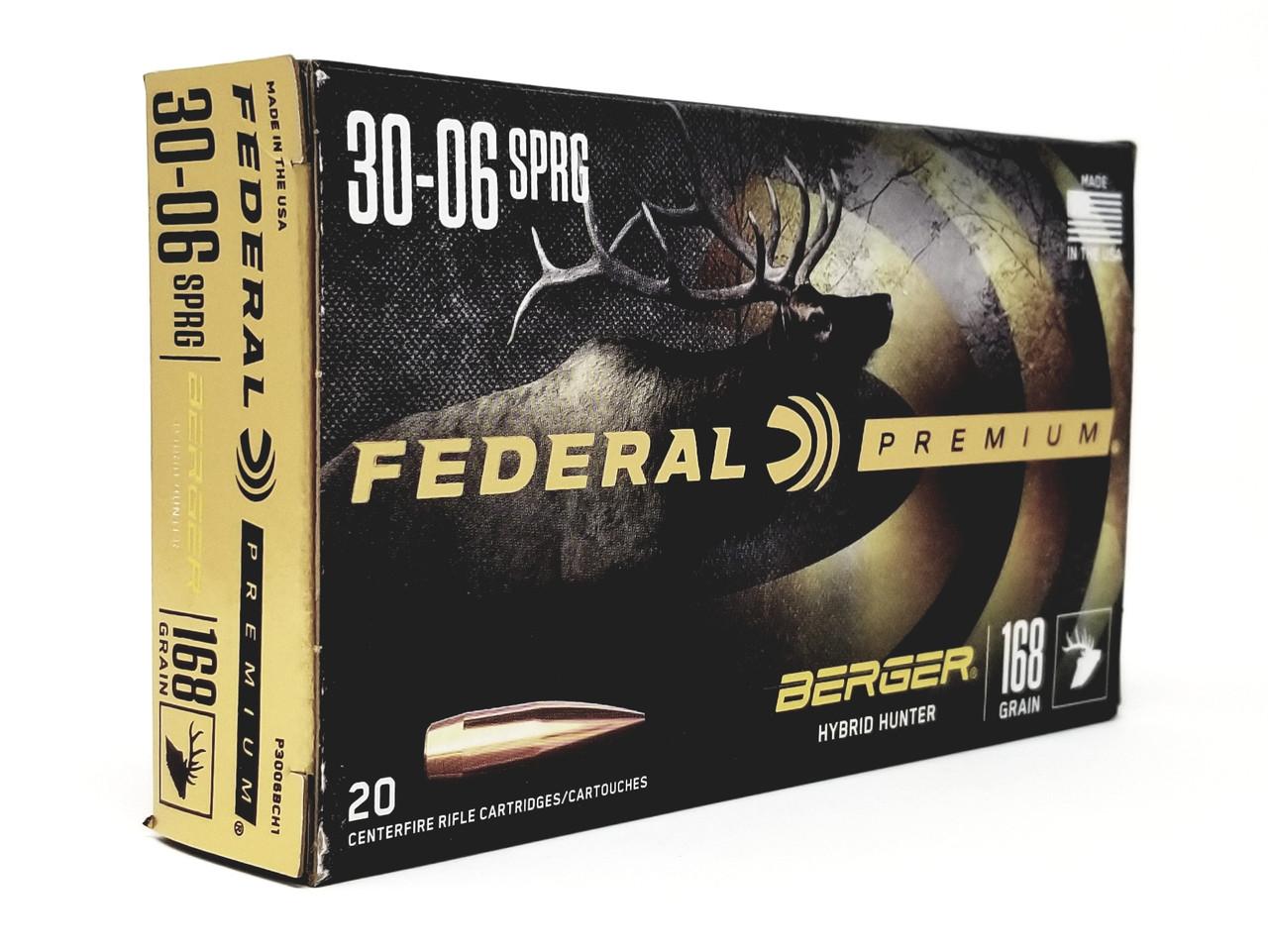 Federal 30-06 Ammunition P3006BCH1 168 Grain Berger Hybrid Hunter 20 Rounds