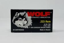 Wolf 223 Rem Ammunition Performance WOLFTULA22355CASE 55 Grain Full Metal Jacket Case 1000 Rounds